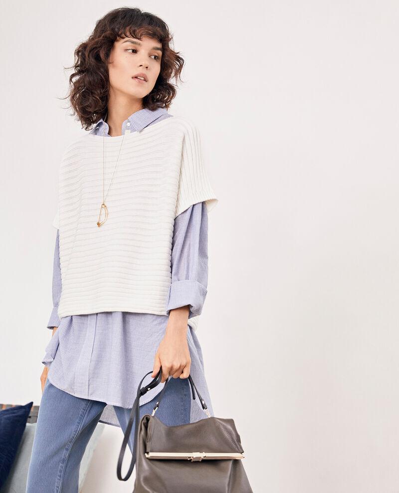Pull manches courtes en maille côtelée zéro couture Kaolin Falsi