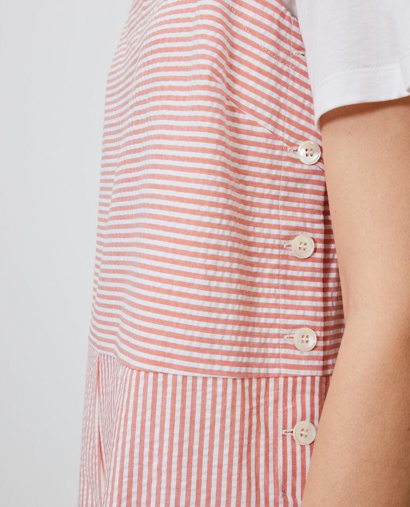 Combinaison short en coton seersucker Str purepumpkin white Nassigna