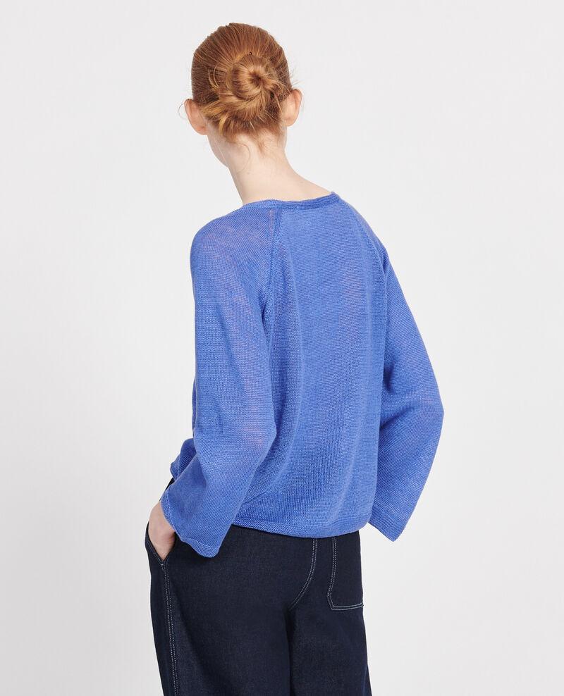 Pull V en lin léger Amparo blue Lacajou