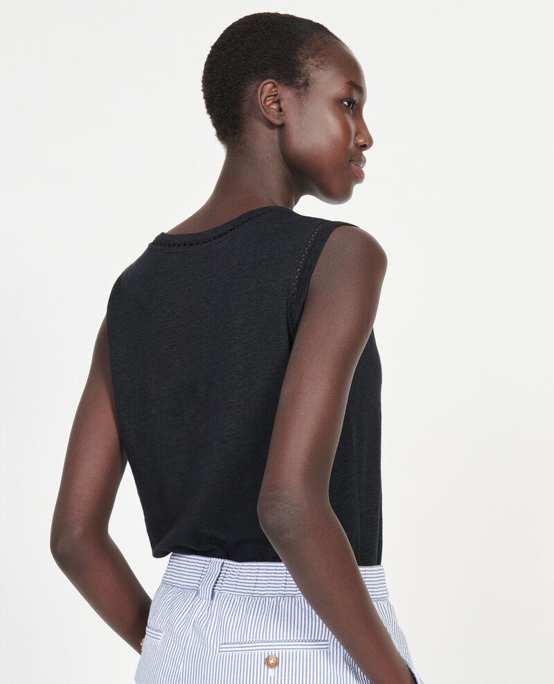 Débardeur ajouré en lin jersey Black beauty Lespa