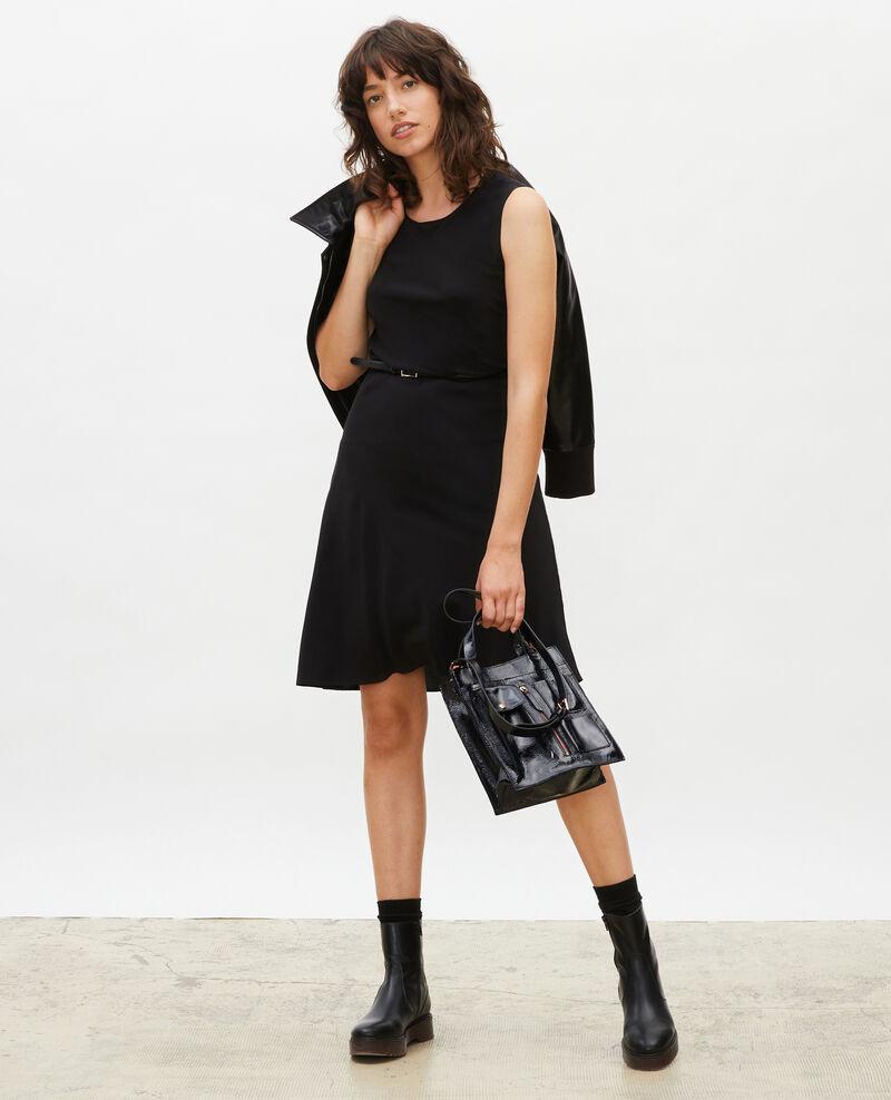 Robe en soie sans manches coupée en biais Black beauty Leonide
