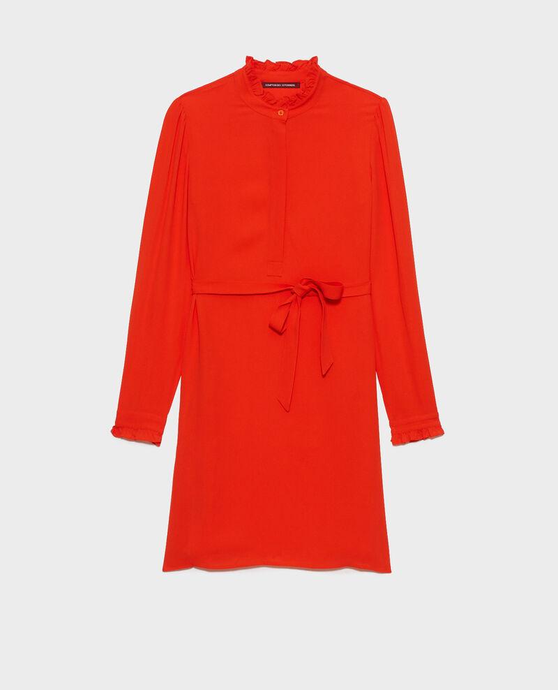Robe droite à col volanté Spicy orange Nepal