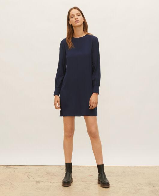Robe en soie ample et courte MARITIME BLUE