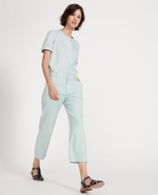 Pantalon droit en lin BLUE HAZE