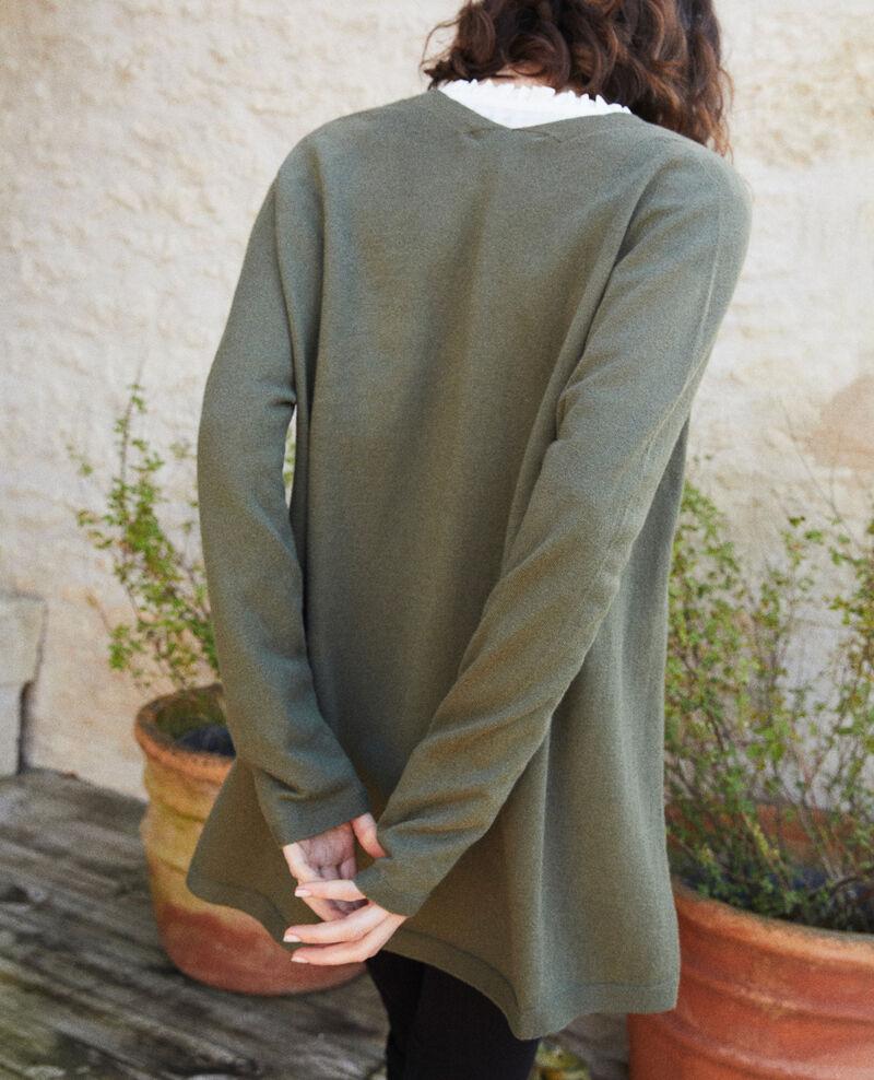 Cardigan long en maille 3D Cheng olive Ipatique
