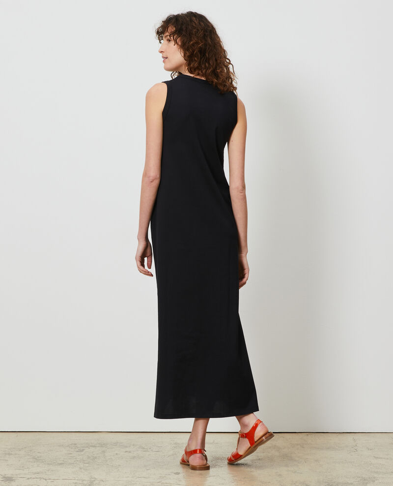 Robe longue col V coton Black beauty Larosa