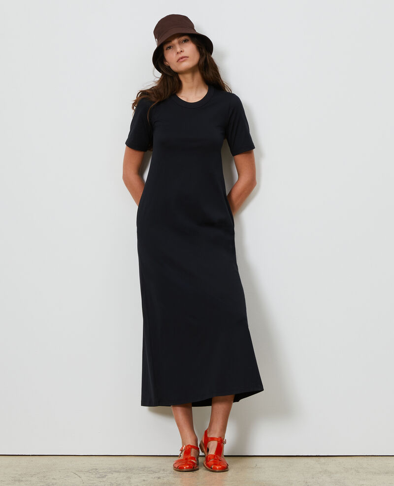 Robe longue col rond coton Black beauty Larosata