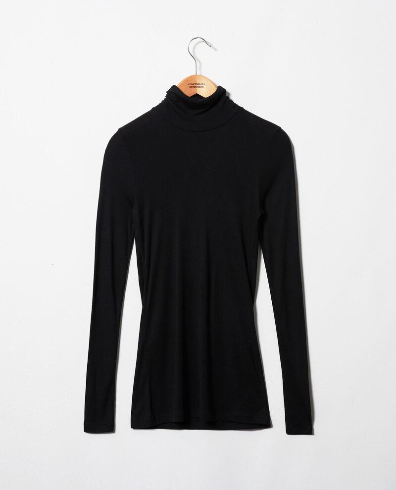 T-shirt col roulé avec du cachemire Noir Jylka