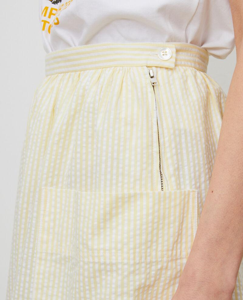 Jupe mi-longue en coton seersucker Str lemon white Nebaral
