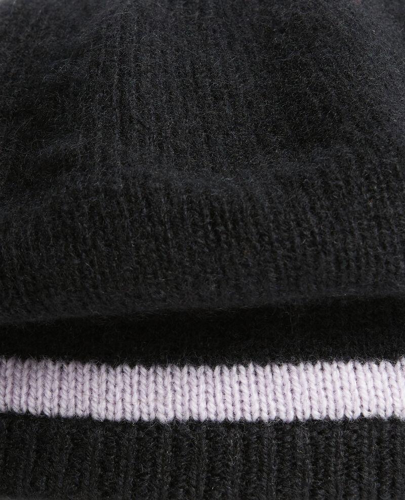 Béret en cachemire Stripe black lilac Mions