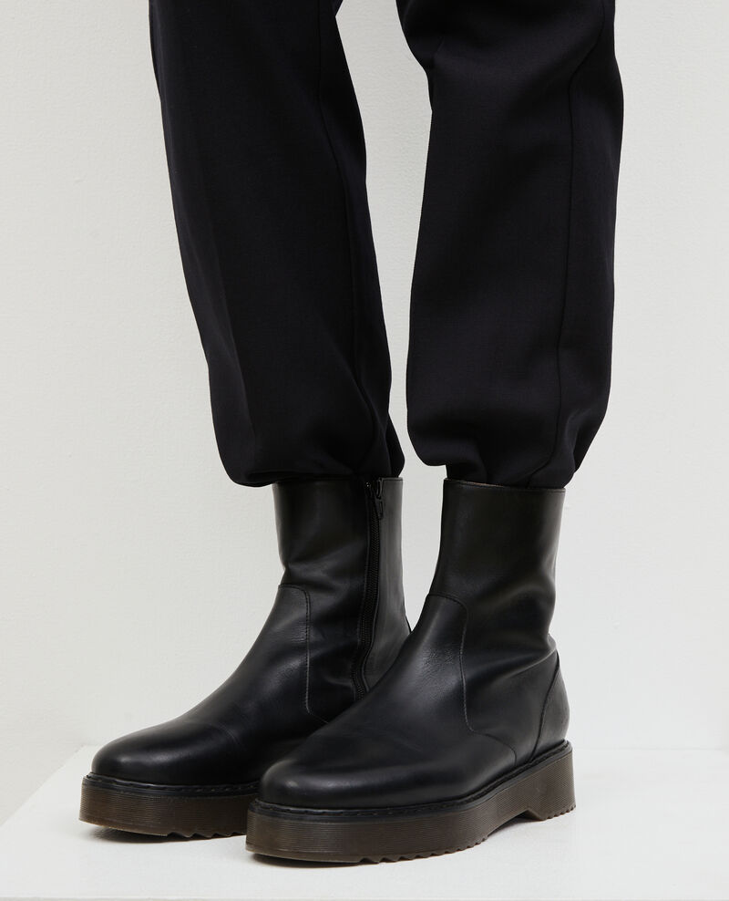 Boots en cuir compensée Black beauty Melun