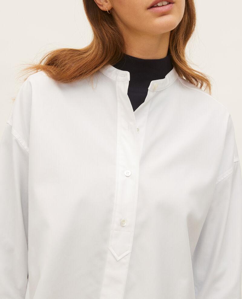Chemise sans col en popeline de coton Optical white Lyringas