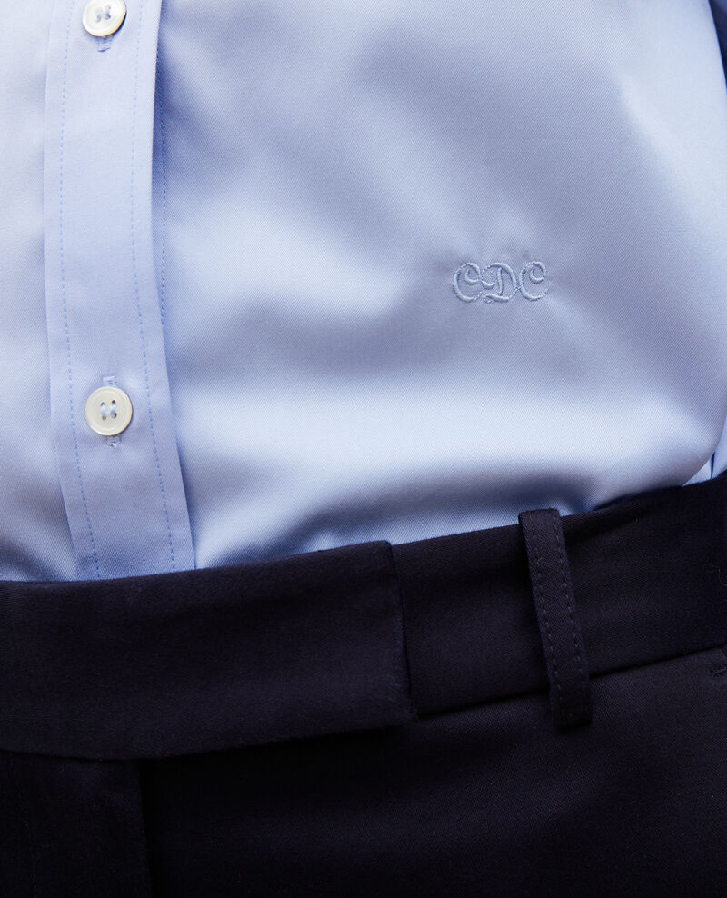 Chemise en coton col rond Classic blue Mannion