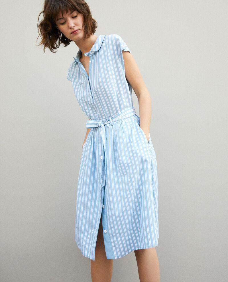Chemise à col rond Adriatic/off white stripes Garconne
