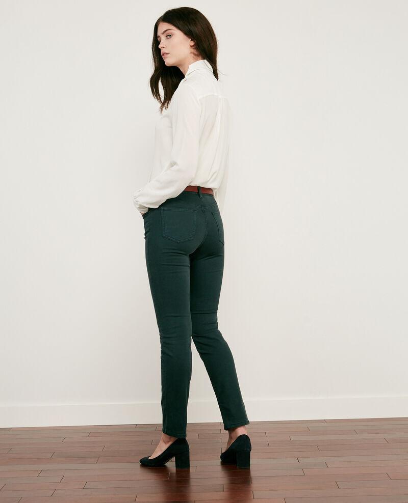 Jeans cigarette toucher peau de pêche Deep green Dhanna
