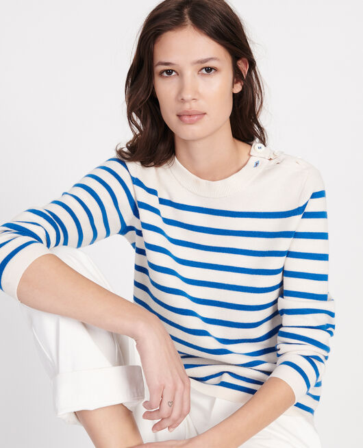 Pull marin en laine STRIPES PRINCESS BLUE GARDENIA