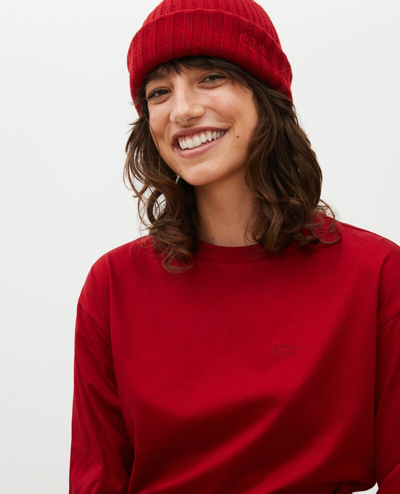 T-shirt coton manches longues col rond Royale red Mainzac