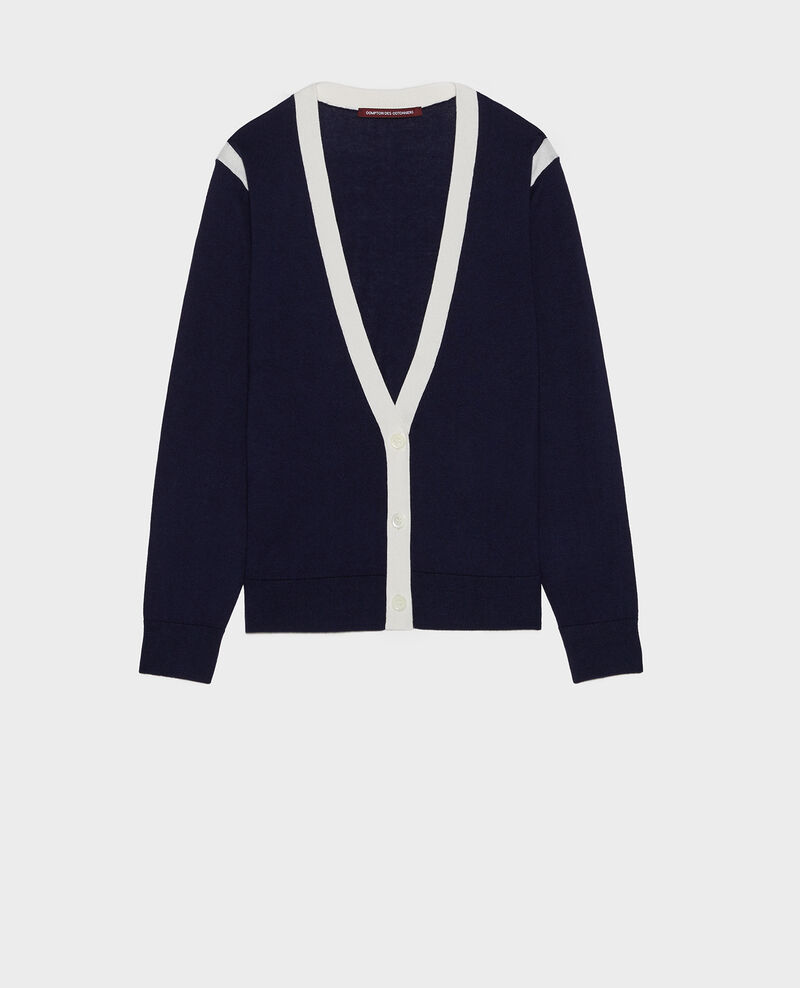 Cardigan soie coton et cachemire Stripes maritime blue gardenia Loussous