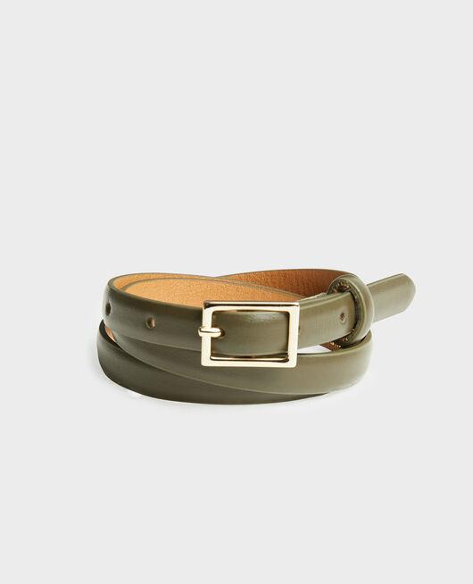 Fine ceinture cuir boucle rectangulaire MILITARY GREEN