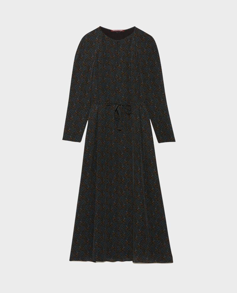 Robe longue en soie Paisley blue Paarsa