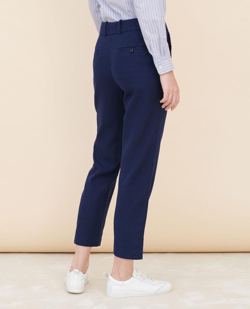 Pantalon 7/8e en coton et lin Maritime blue Laiguillon