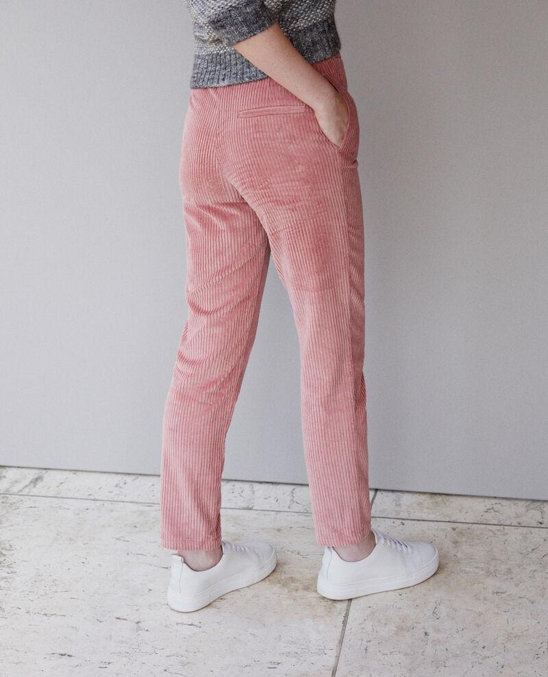 Pantalon en gros velours côtelé Old rose Ganasso