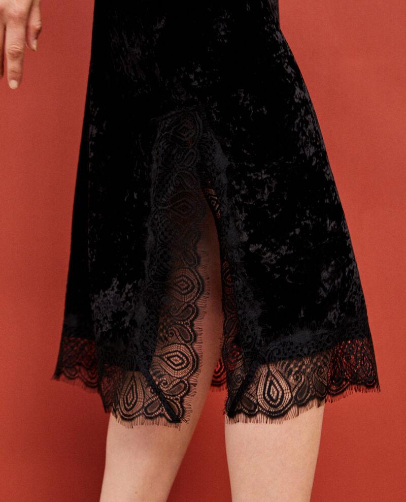 Robe en velours et dentelle Noir Glife