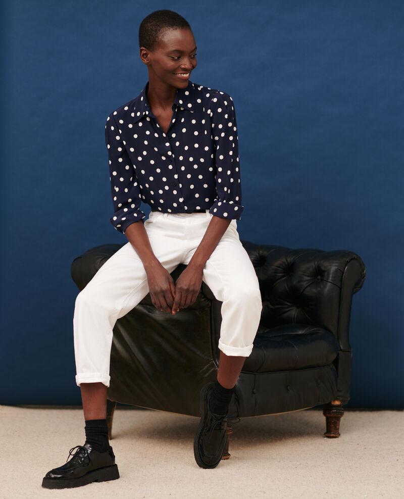 SLOUCHY - Jean ample taille mi-haute 5 poches Winter white Meroni