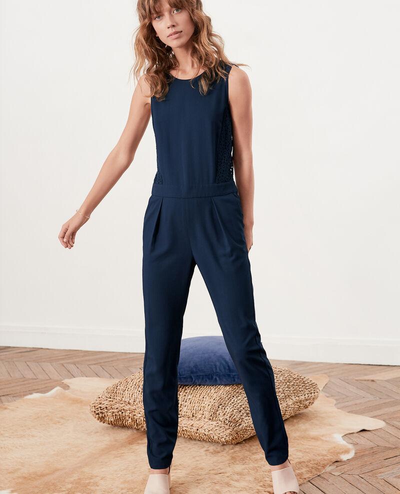 combinaison pantalon femme avec dos en dentelle couleur navy fossgor comptoir des cotonniers. Black Bedroom Furniture Sets. Home Design Ideas