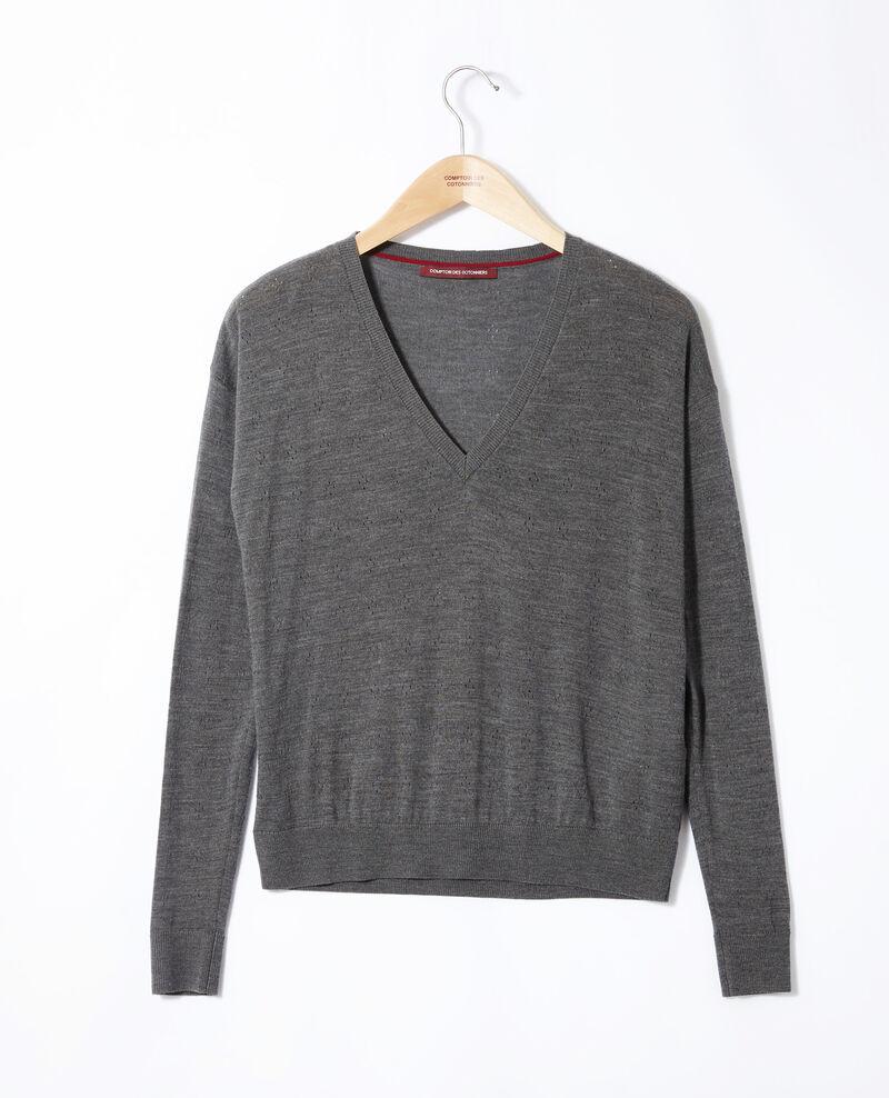 Pull en laine mérinos Dark heather grey Garago