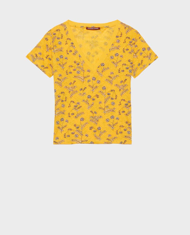 T-shirt col V en lin Coronille gold Nayeli