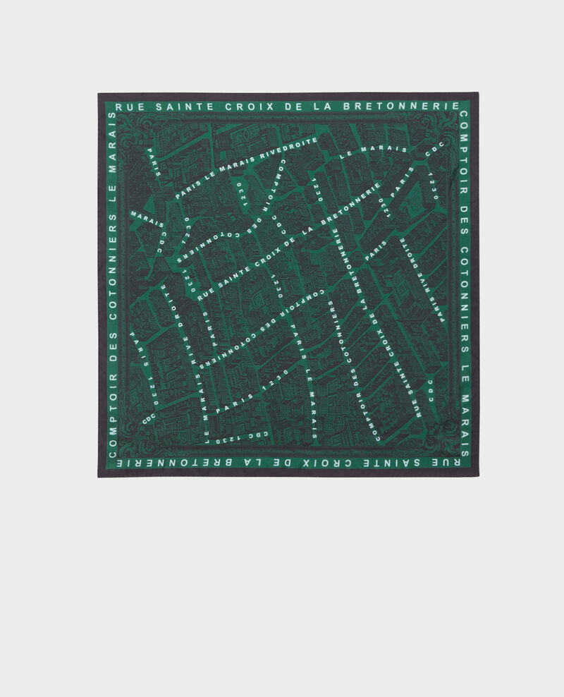 Foulard carré de soie Military green Mamap