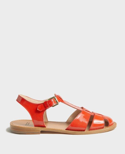 Sandales en cuir vernis FIERY RED