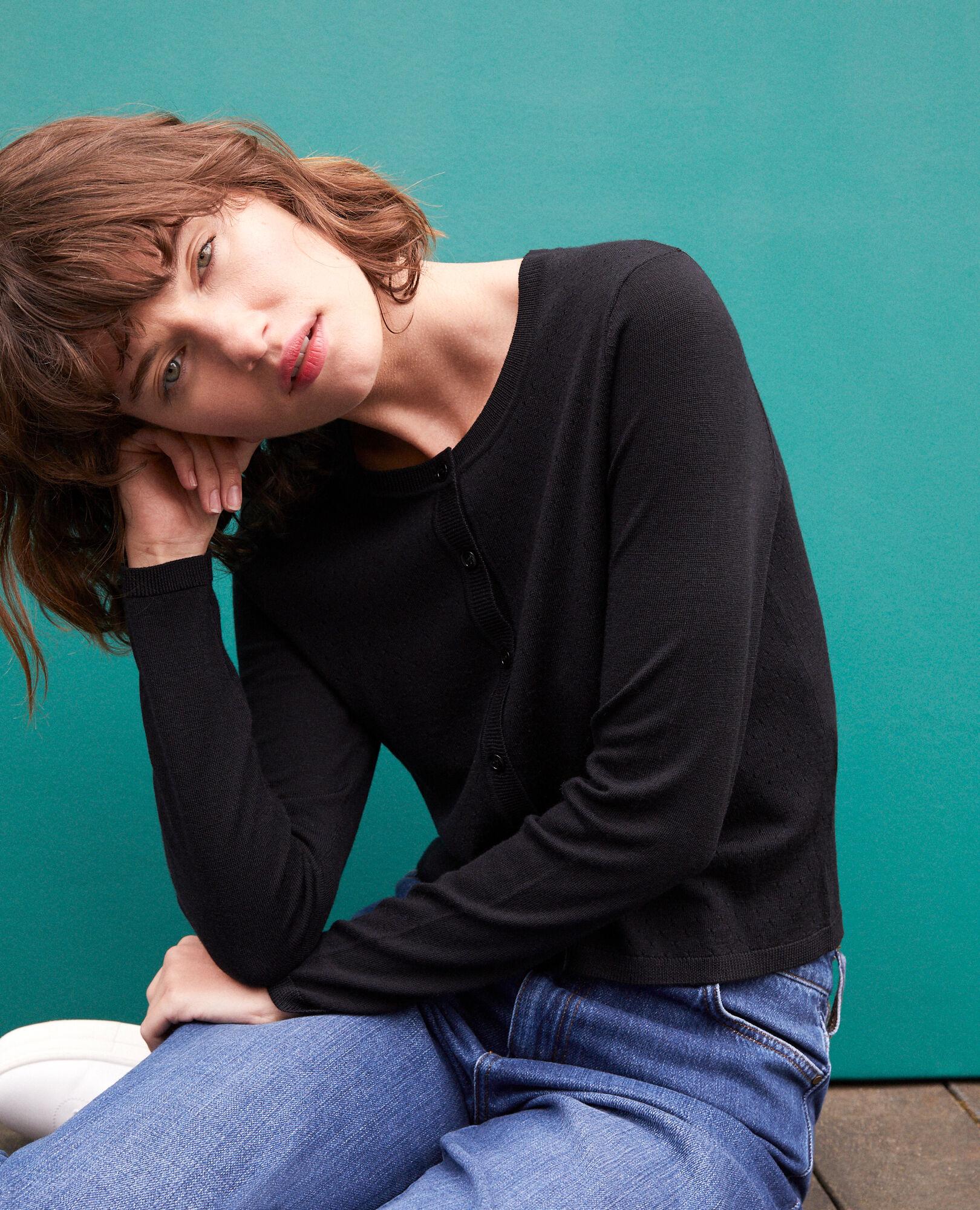 Noir Laine Des Godard Comptoir Couleur Mérinos Femme En Gilet wEZAXqfX