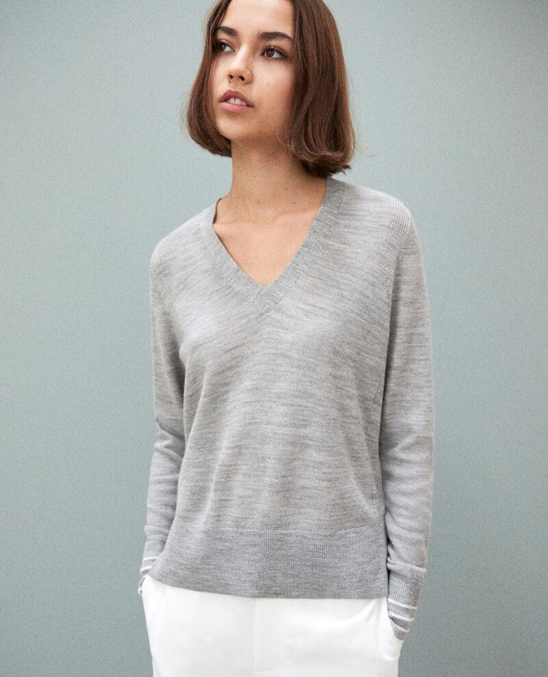 Pull fin en laine merinos Light grey Idile
