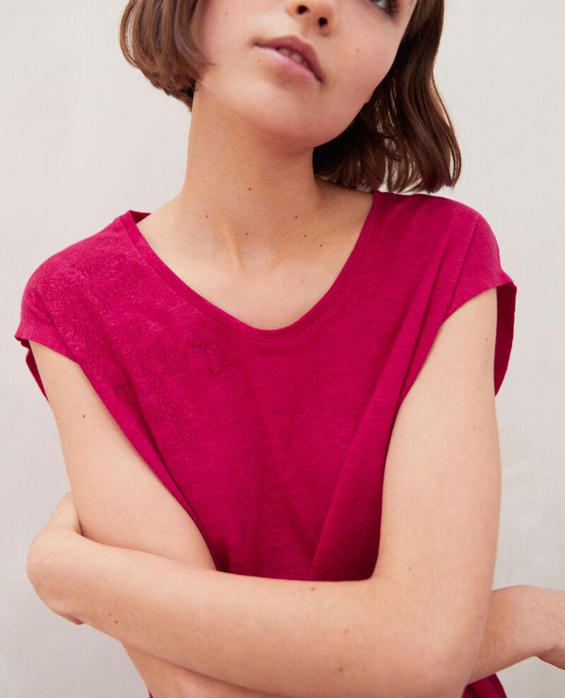 T-shirt en lin brodé Fushia Imomo