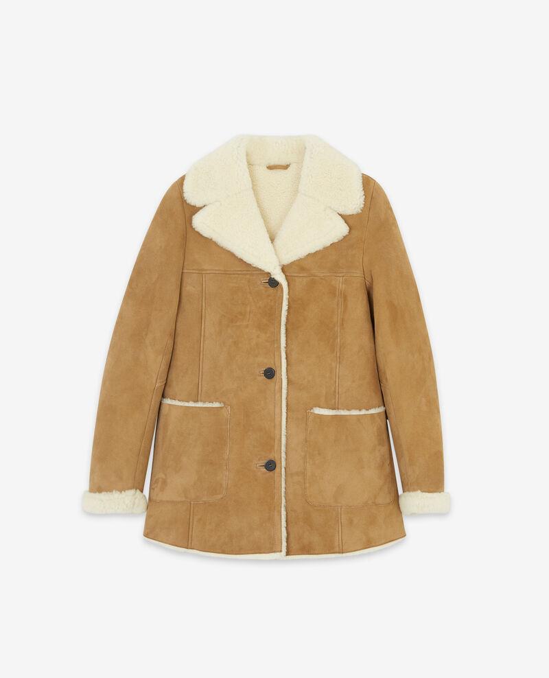 Manteau femme en peau lain e couleur chamois dolotto - Manteau femme comptoir des cotonniers ...