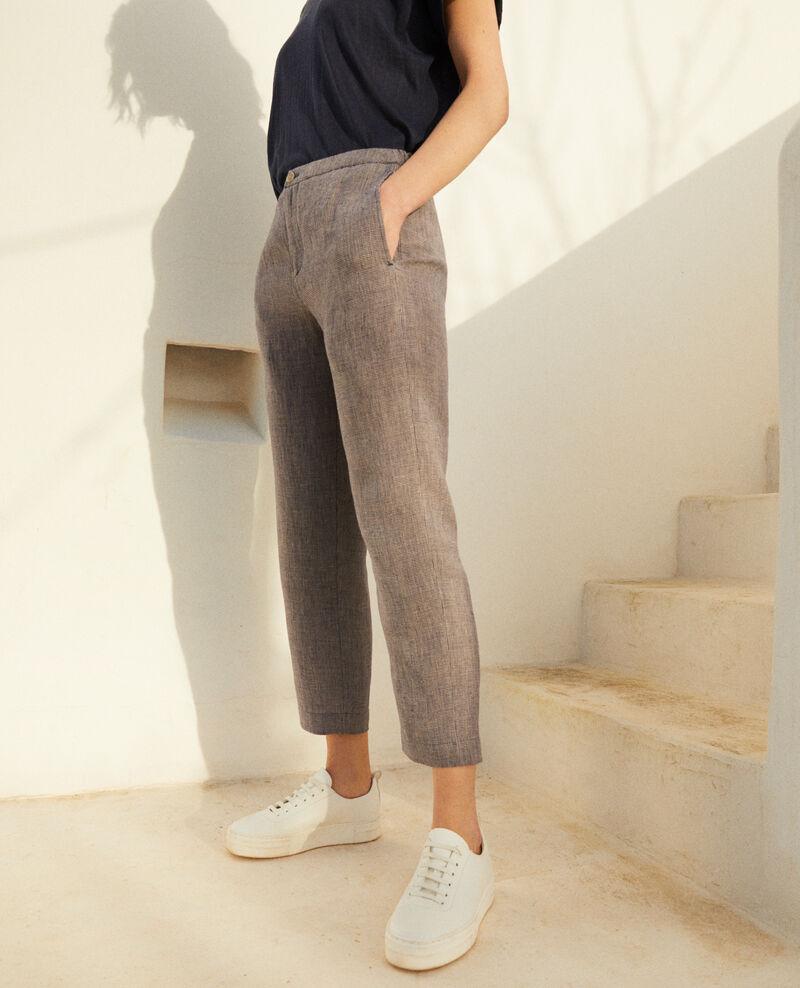 Pantalon coupe carotte en lin Natural linen/ink navy Iphonow