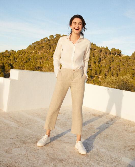 Pantalon coupe carotte NATURAL LINEN/OFF WHITE