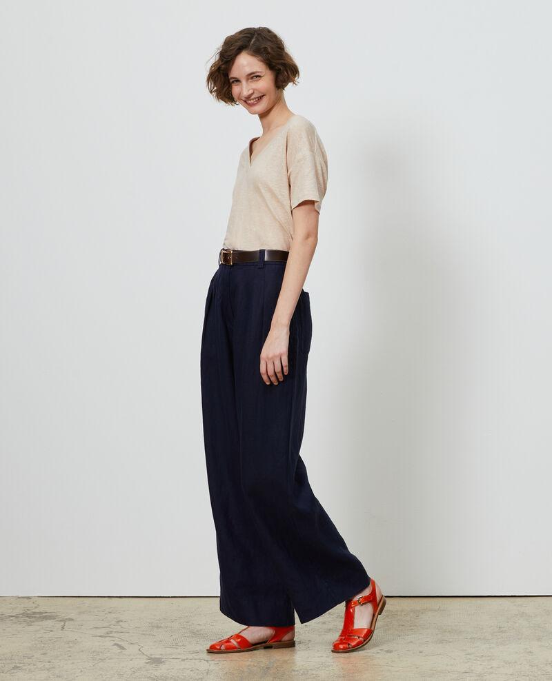 Pantalon YVONNE taille haute en lin Maritime blue Lafare