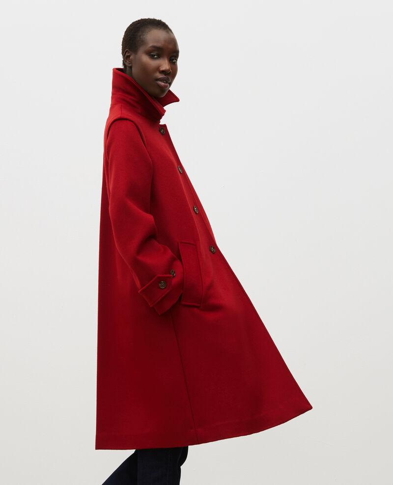 Manteau évasé en laine et cachemire Royale red Madriat