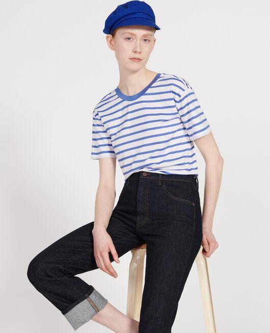T-shirt en coton égyptien STRIPES OPTICAL WHITE AMPARO BLUE