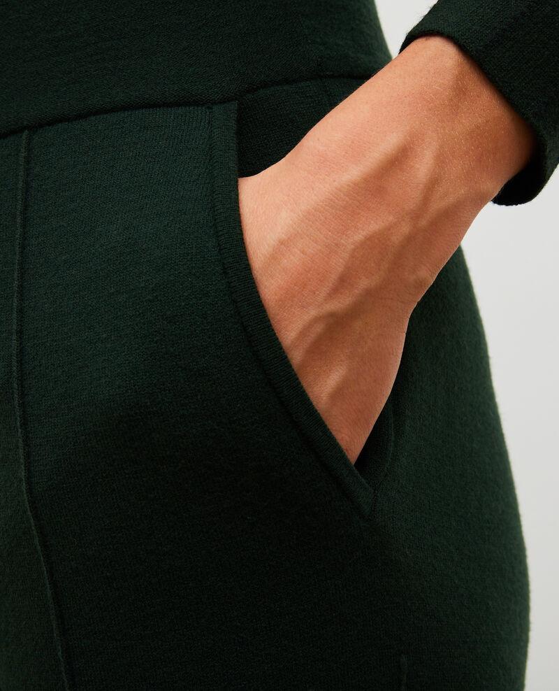 Pantalon large en jersey de laine Military green Marseillan 2
