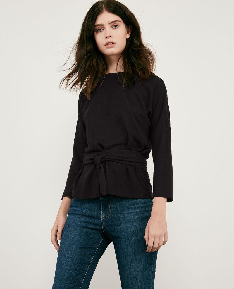 Sweatshirt à ceinture avec laine Noir Debongout