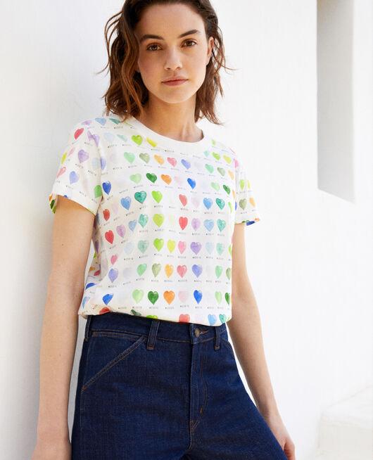T-shirt imprimé cœur OFF WHITE
