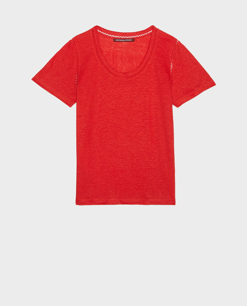 T-shirt en lin jersey  Fiery red Lye