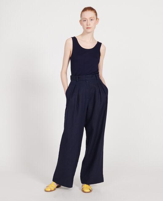 Pantalon large en lin MARITIME BLUE