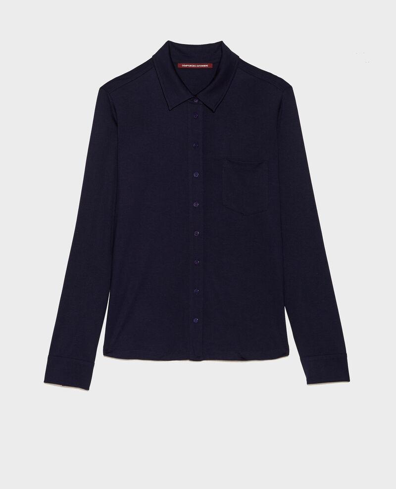 Chemise en jersey de soie Maritime blue Leanor