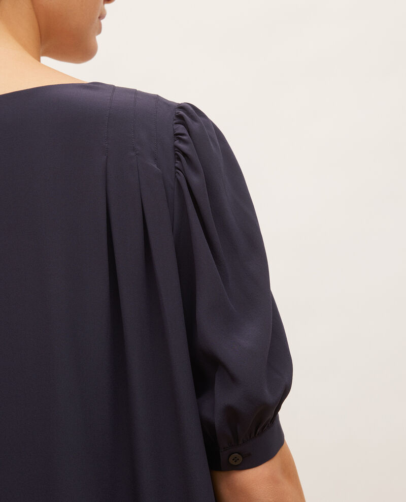 Robe longue ample fluide en soie col V Night sky Manthes