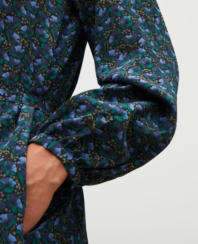 Robe longue en soie ceinturée col V Print artdeco darkgreen Marieuxa